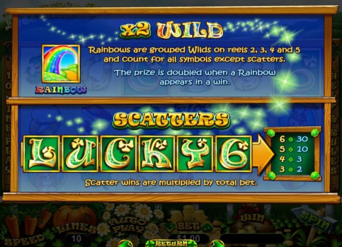 Rainbow is wild and pays x2 on wins. Rainbows are grouped wilds on reels 2, 3, 4 and 5 and count for all symbols except scatters. The prize is doubled when a rainbow appears in a win. - No Deposit Casino Guide