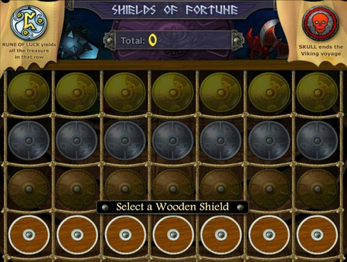 Shields of Fortune Bonus game board - Select a wooden shield to reveal a prize. by No Deposit Casino Guide