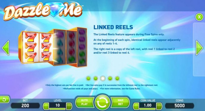 No Deposit Casino Guide - The Linked Reels feature appears during Free Spins only. At the beginning of each spin, identical linked reels appear adjacently on any of reels 1-4. The right reel is a copy of the left reel, with reel 1 linked to reel 2 and/or