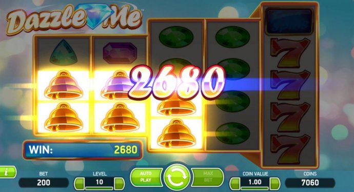 Gold bell symbols form multiple winning combinations leading to a 2680 coin payout. - No Deposit Casino Guide
