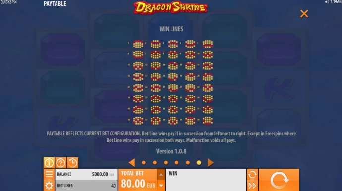 Payline Diagrams 1-40. Bet line wins pay in succession from leftmost to right. by No Deposit Casino Guide