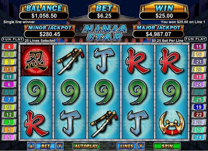 five of a kind triggers a $25 payout by No Deposit Casino Guide