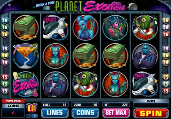 Main game board featuring five reels and 15 paylines with a $10,000 max payout - No Deposit Casino Guide