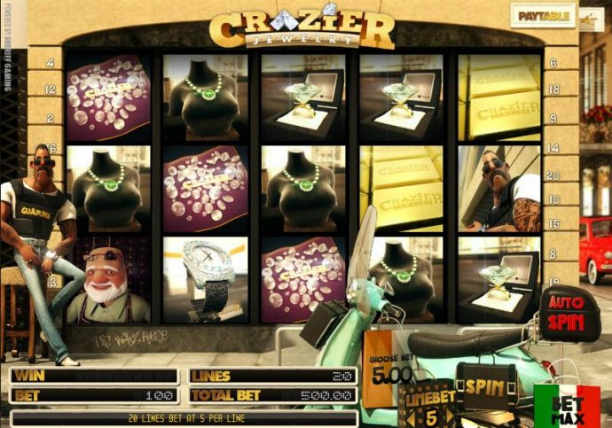 No Deposit Casino Guide - main game board featuring five reels and twenty paylines