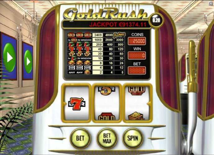 main game board featuring three reels and a single payline by No Deposit Casino Guide