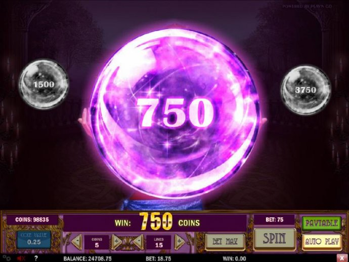 No Deposit Casino Guide - a 750 coin prize has been selected during the bonus round.