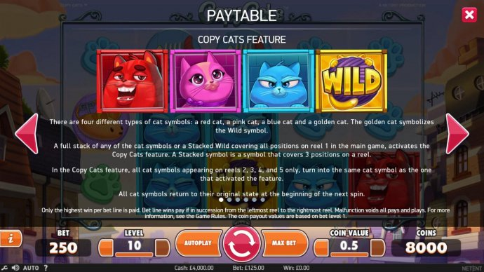There are four different types of cat symbols a red cat, a pink cat, a blue cat and a golden cat. The gold cat is the wild symbo;. by No Deposit Casino Guide