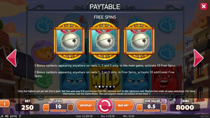 3 bonus symbols appearing anywhere on reels 1, 3 and 5 only, in the main game, activate 10 free games. - No Deposit Casino Guide