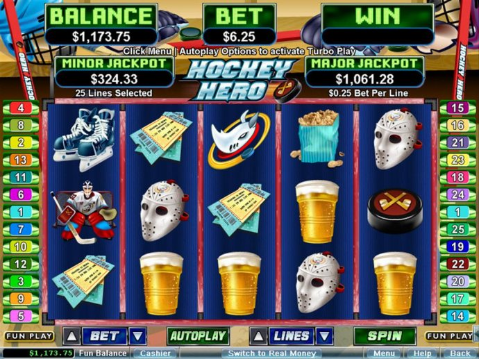 A sports themed main game board featuring five reels and 25 paylines with a $250,000 max payout - No Deposit Casino Guide