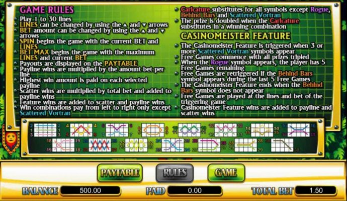 No Deposit Casino Guide - game rules, feature and payline diagrams