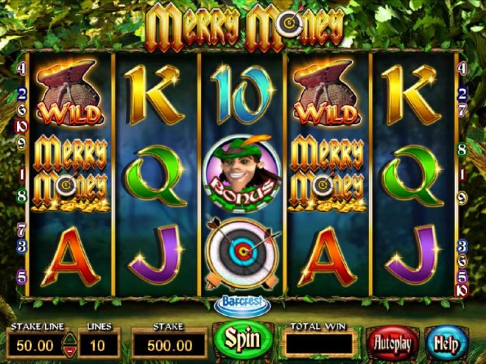 Main game board featuring five reels and 10 paylines with a $250,000 max payout - No Deposit Casino Guide