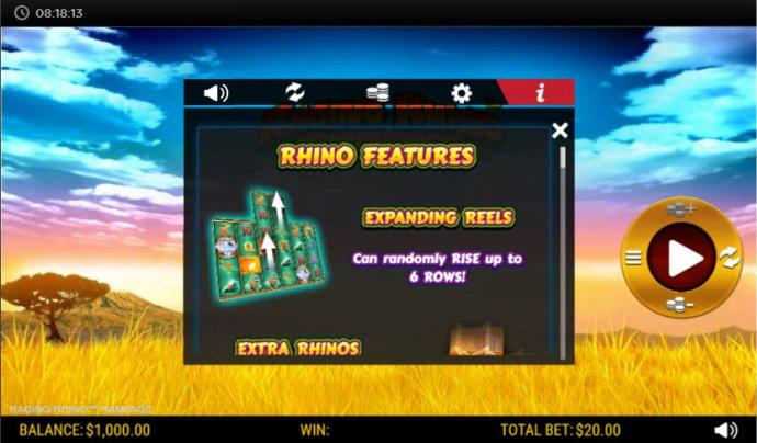 No Deposit Casino Guide image of Raging Rhino Rampage