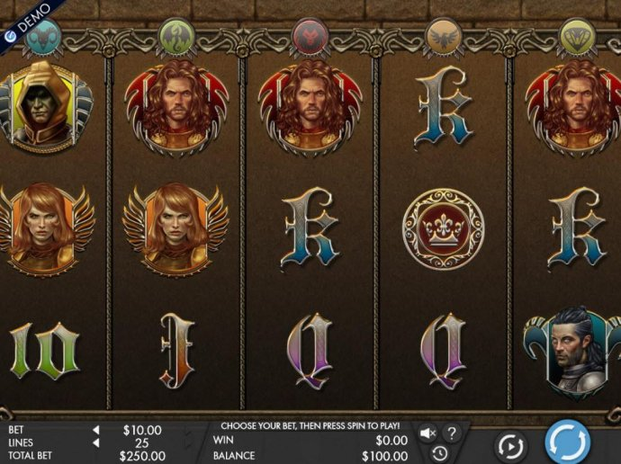 A medieval themed main game board featuring five reels and 25 paylines with a $12,500 max payout - No Deposit Casino Guide