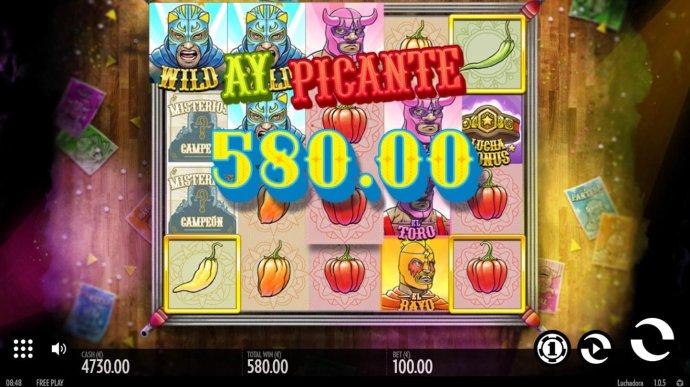 Multiple winning paylines triggers a 580.00 big win! - No Deposit Casino Guide