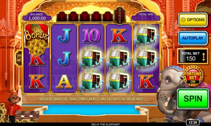 Main game board featuring five reels and 20 paylines with a $250,000 max payout. by No Deposit Casino Guide
