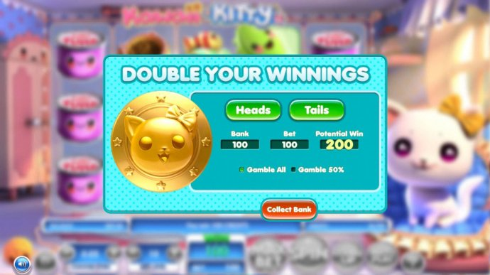 Double Up Feature is a available after every winning spin. Select either heads or tails for a chance to double your winnings. by No Deposit Casino Guide