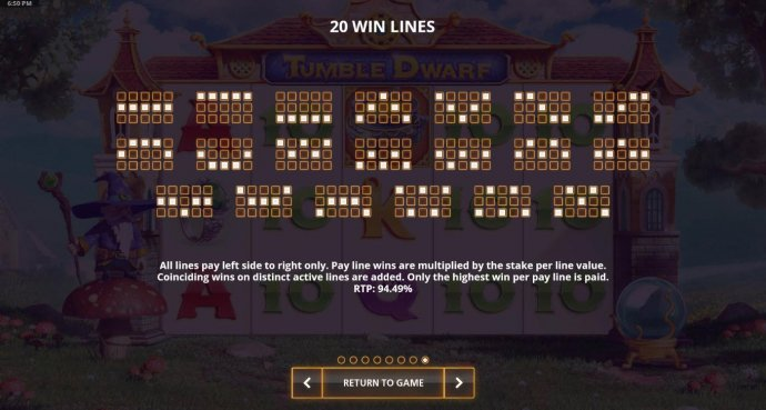 No Deposit Casino Guide - Payline Diagrams 1-20. Theoretical return to player for this game is 94.49%.