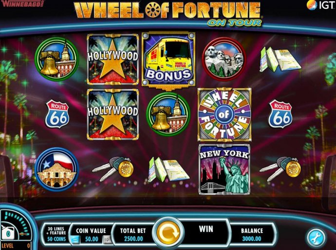 Main game board featuring five reels and 30 paylines with a $250,000 max payout by No Deposit Casino Guide