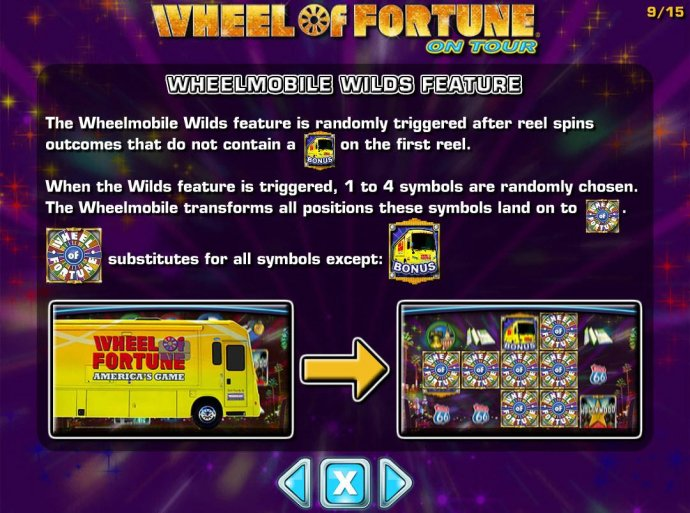 Wheelmobile Wilds Feature is randomly triggered after reel spins outcomes that do not contain a bonus symbol on the first reel. - No Deposit Casino Guide