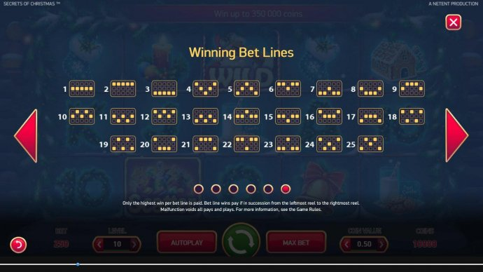 Payline Diagrams 1-25. Only the highest win per bet line is paid. Bet line wins pay in succession from the leftmost reel to the rightmost reel. - No Deposit Casino Guide