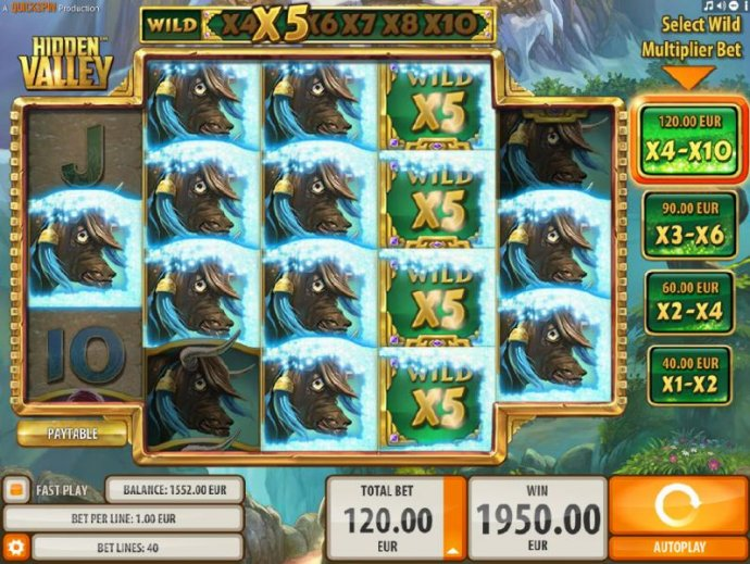 A 1,950.00 big win triggered by multiple winning paylines and x5 wild multipliers by No Deposit Casino Guide