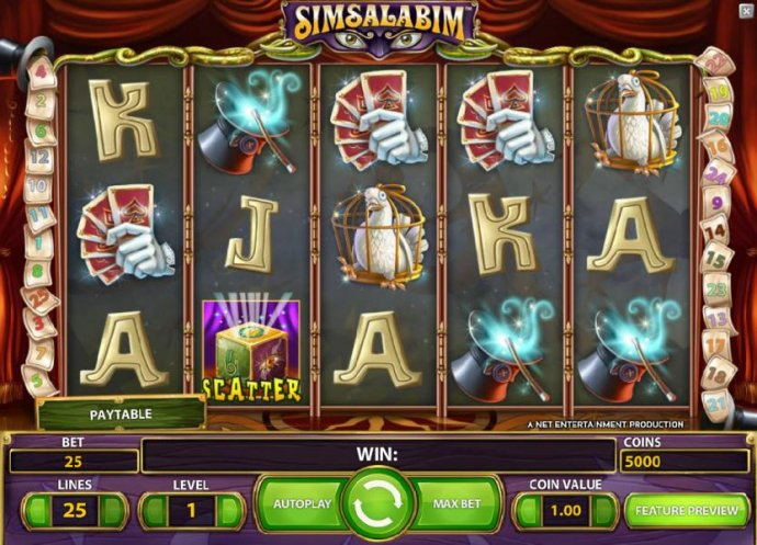 main game board featuring five reels, 25 paylines and a chance to win up to 225000 coins - No Deposit Casino Guide