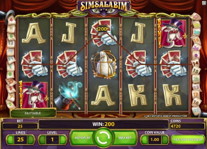No Deposit Casino Guide - five of kind triggers a 200 big win payout