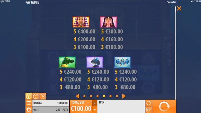 High value slot game symbols paytable featuring Egyptian themed icons. - No Deposit Casino Guide