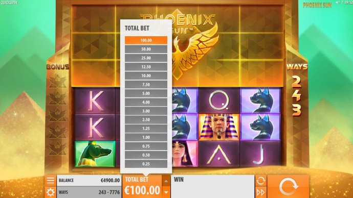 No Deposit Casino Guide - Click on the Total Bet arrow to select an available betting option.