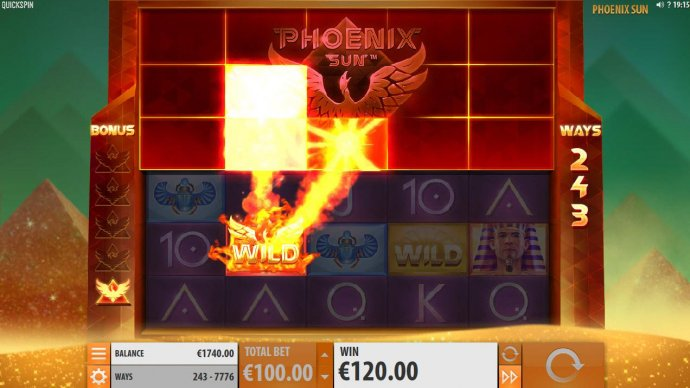 Phoenix Wild will randomly remove three tiles from above. by No Deposit Casino Guide