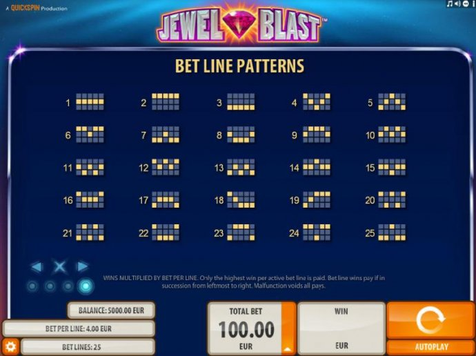 No Deposit Casino Guide - Payline Diagrams 1-40. Wins multiplied by bet per line. Only highest win per active betline is paid.