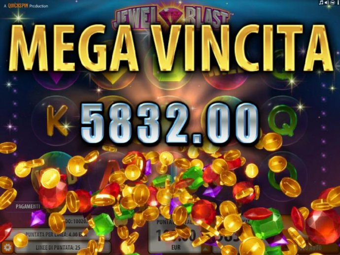 The Bonus Blast feature pays out a totall of 5,832.00 for a mega win. - No Deposit Casino Guide