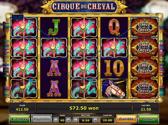Multiple winning paylines of seahorse icons triggers a 572.50 big win! - No Deposit Casino Guide