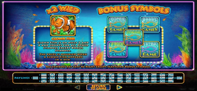Clown Fish is on reels 2 and 4 and counts for all other symbols except bonus symbols. ZThe prize is doubled when a clown fish appears in a win. by No Deposit Casino Guide