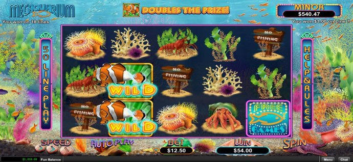 A pair of wild symbols activates a pair of paylines leading to a 54.00 payout. - No Deposit Casino Guide