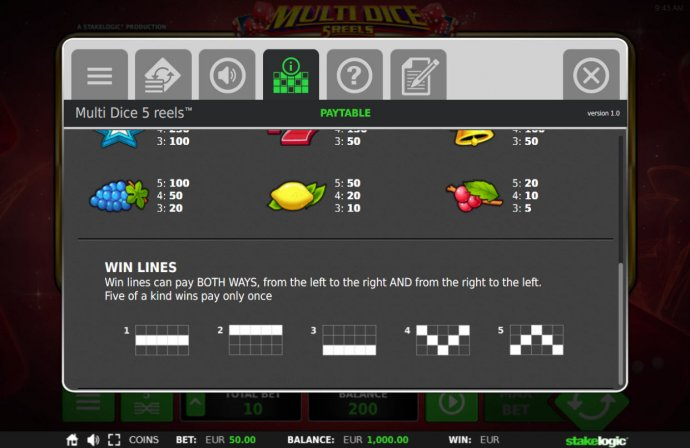 Paylines 1-5 by No Deposit Casino Guide