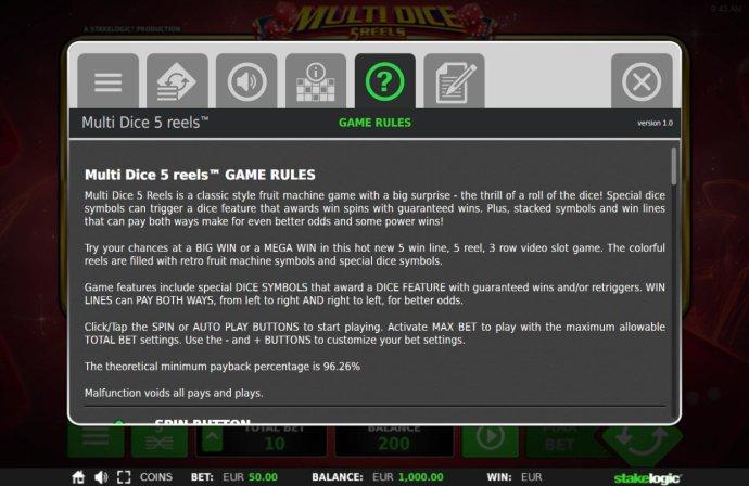 Multi Dice 5 Reels screenshot