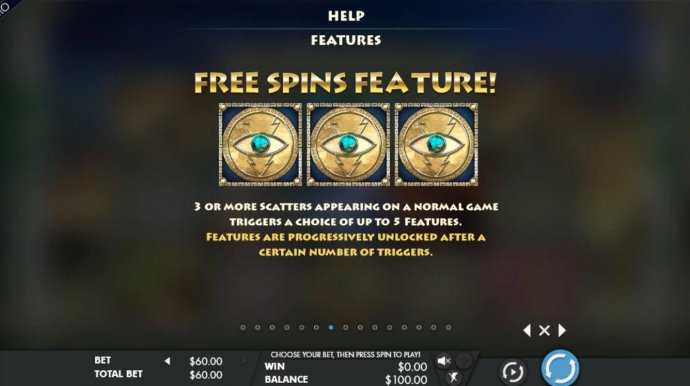 3 or more scatters appearing on a normal game triggers a choice of up to 5 features - No Deposit Casino Guide