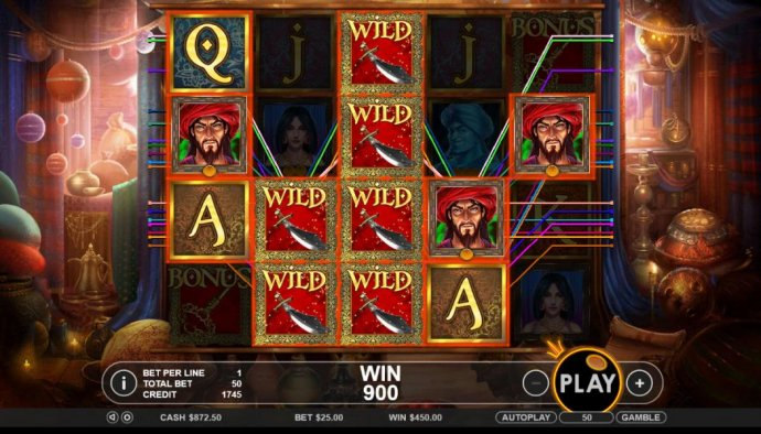 Multiple winning combinations triggers a 900 coin mega win! by No Deposit Casino Guide