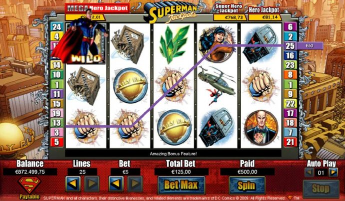 Superman wild triggers a $450 line pay - No Deposit Casino Guide