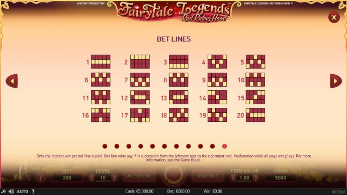 Winning Bet Lines Diagrams 1-20 by No Deposit Casino Guide