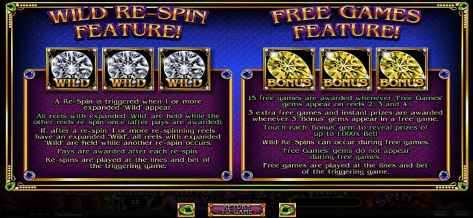 Wild Re-Spin Feature and Free Games Feature Rules by No Deposit Casino Guide