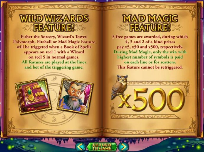 Mad Magic feature - 5 free games are awarded, during which 4, 3 and 2 of a kind prizes pay x5, x50 and x500, respectively. by No Deposit Casino Guide