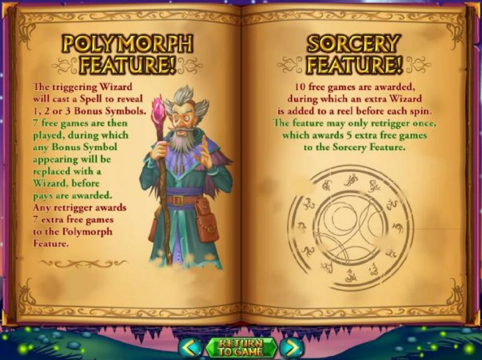 Polymorph Feature and Sotcery Feature game rules by No Deposit Casino Guide