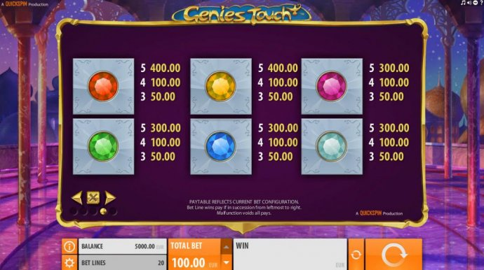 Low value game symbols paytable - consisting of various colored gem stones. - No Deposit Casino Guide