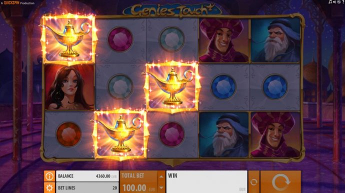 No Deposit Casino Guide - Three Magic Lamp symbols triggeres the Genies Touch feature.
