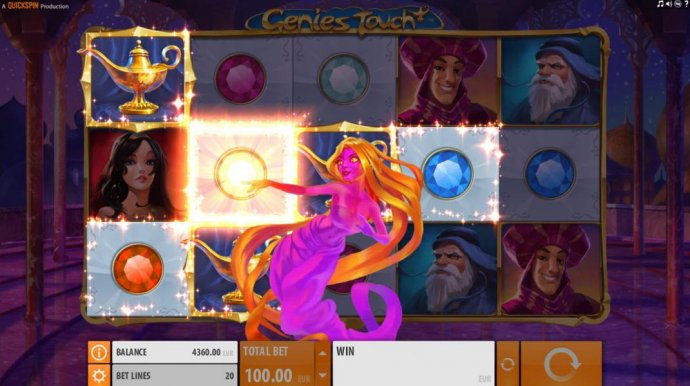 During the Genies Touch feature, the Genie will appear and select a symbol thus changing all selected symbols into that one creating the best possible winning combination. by No Deposit Casino Guide