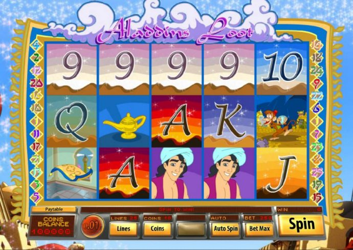 No Deposit Casino Guide - main game board featuring five reels and 25 paylines