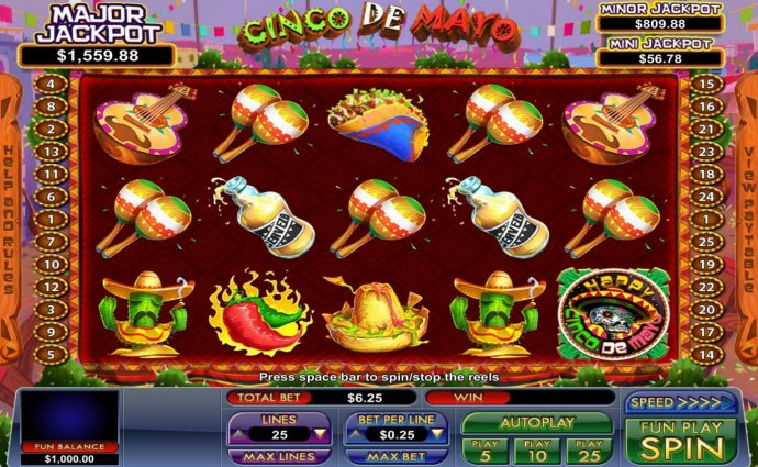 Main game board featuring five reels and 25 paylines with a progressive jackpot max payout. by No Deposit Casino Guide