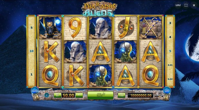 An Egyptian Pharaoh themed main game board featuring five reels and 10 paylines with a $45,000 max payout. by No Deposit Casino Guide
